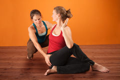 Yoga Coach With Student Royalty Free Stock Photos