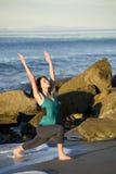 Yoga On the Coast vertical royalty free stock photos