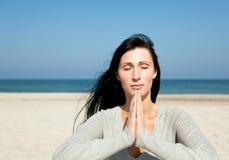 Yoga coastline Stock Images