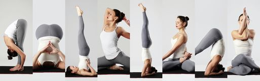 Yoga collage. young woman doing yoga exercises stock photo