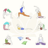 Yoga colorful poses set. Line illustration. Woman postures. EPS10 Stock Image