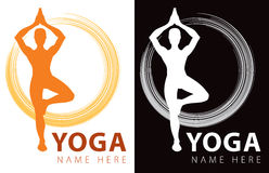 Yoga Logo. A yoga company logo icon in colour and black & white vector illustration