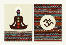Yoga concept set boho background and chakra icons Stock Photo