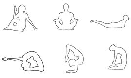 Yoga_objects, empty silhouette Stock Photos