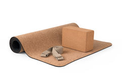 Yoga Cork Mat Block and Strap  Eco Friendly on White Background Stock Photography