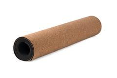 Yoga Cork Mat Premium und Eco freundlich auf weißem Hintergrund Lizenzfreie Stockfotos