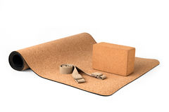 Yoga Cork Mat Set With Cork Block and Strap Stock Images