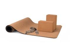 Yoga Cork Mat Set Non slip Eco Friendly on White Background Stock Photography
