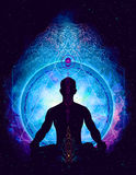 Yoga cosmic space meditation,. Beautiful man shape illustration Royalty Free Stock Image