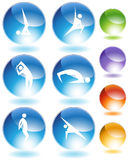 Yoga Crystal Icon Set Royalty Free Stock Photos
