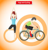 Yoga and Cycling Sport Concept Design Stock Photo