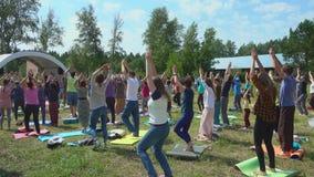 Yoga dance `Kaoshiki` at Musical art & yoga festival stock video