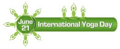 Yoga Day Circular Yoga Poses Green Royalty Free Stock Photography