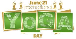 Yoga Day Green Blocks Royalty Free Stock Photography