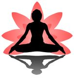 Yoga Day meditation padmasana pose banner against pink lotus petals gradient vector on white background design. Computer Graphic design Stock Images