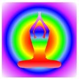 Yoga Day meditation parvastasna pose banner with seven aura energy Chakra against energy chakra gradient circle royalty free illustration