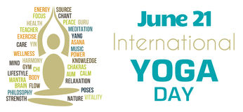 Yoga Day White Tagcloud Shape. International yoga day image with wordcloud vector illustration