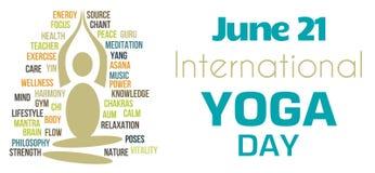 Yoga Day White Tagcloud Shape Stock Photos