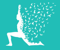 Yoga day/yoga infographic with birds flying design, templates for spa center or yoga studio Stock Photo