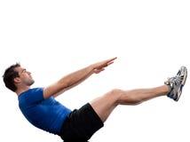 Yoga de la actitud del barco del navasana del paripurna del cuerpo de Abdominals del hombre Imágenes de archivo libres de regalías