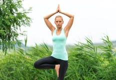 Yoga de la actitud del árbol Imágenes de archivo libres de regalías