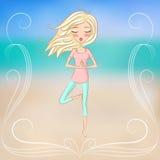 Yoga de la muchacha hermosa, linda y el meditar practicantes Foto de archivo