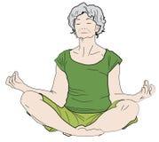 Yoga de la práctica de la abuela Fotografía de archivo