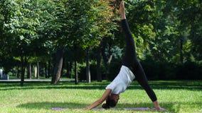 Yoga de la práctica de la mujer, actitud de la yoga metrajes