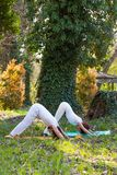 Yoga de la pr?ctica del hombre joven y de la mujer al aire libre en el d?a de verano hermoso de madera fotos de archivo libres de regalías