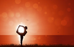 Yoga de lever de soleil Photo stock