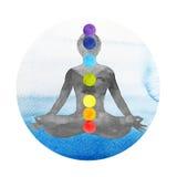 yoga de pose de lotus de couleur du chakra 7, aquarelle peignant tirée par la main illustration stock