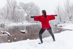 Yoga de pratique dans la neige Photographie stock