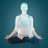 Yoga de pratique de femme en position de lotus Image libre de droits
