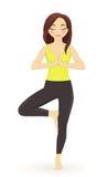 Yoga de pratique de jeune femme illustration de vecteur