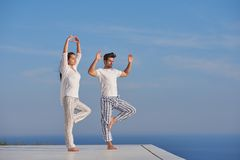 Yoga de pratique de jeunes couples Photo libre de droits