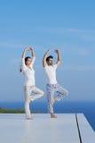Yoga de pratique de jeunes couples Image libre de droits
