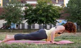 Yoga de pratique de jolie jeune femme en parc (basse planche) images libres de droits