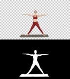 Yoga de pratique de femme, se tenant dans l'exercice prolongé d'angle latéral, pose de parsvakonasana d'Utthita, Alpha Channel photo stock