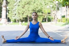 Yoga de pratique de jeune femme extérieur en parc image libre de droits