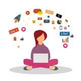 Yoga de pratique de spécialiste en vente de Digital Concept de vente de Digital illustration stock