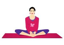 Yoga: de vlinder stelt Stock Foto