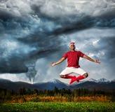 Yoga de vol contre l'ouragan Image stock
