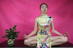 Yoga dell'ufficio Fotografie Stock