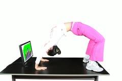 Yoga dell'ufficio Fotografia Stock