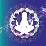 Yoga della donna bella ragazza bianca distendasi Posa di Lotus - Padmasana Mandala di origami Arte del taglio della carta meditaz royalty illustrazione gratis