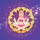 Yoga della donna Bella ragazza distendasi Posa di Lotus - Padmasana royalty illustrazione gratis
