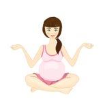 Yoga della donna incinta su una priorità bassa bianca Immagine Stock
