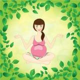 Yoga della donna incinta su una priorità bassa dei fogli Immagine Stock