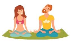 Yoga della famiglia, donna isolata ed uomo nella posizione di loto su fondo bianco Immagine Stock Libera da Diritti