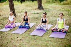 Yoga delle ragazze nel parco Distenda in natura Fotografia Stock Libera da Diritti